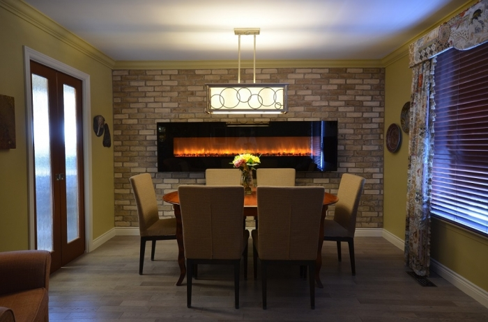 "CUSTOM FIREPLACE WALL with Century Architexture Brick Veneer + 95"" Electric Fireplace"