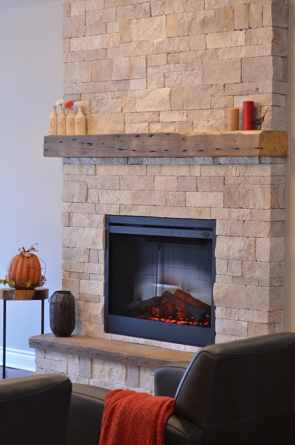 CUSTOM STONE FIREPLACE ~ Dimplex BF39DXP + Erthcoverings Durango Splitface + Reclaimed beams