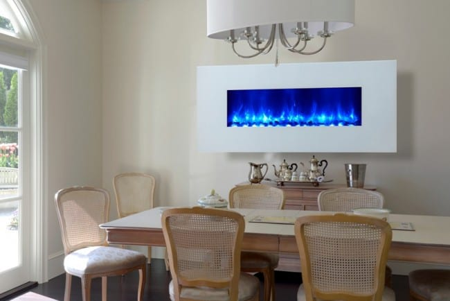 Dynasty EF69-WGR white glass fireplace with blue flame has a cooling effect for summer!