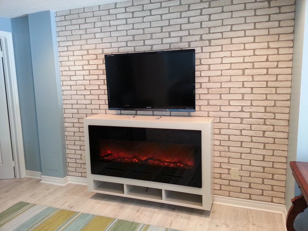 Making linear electric fireplaces tv friendly stylish for Walk in fireplace designs