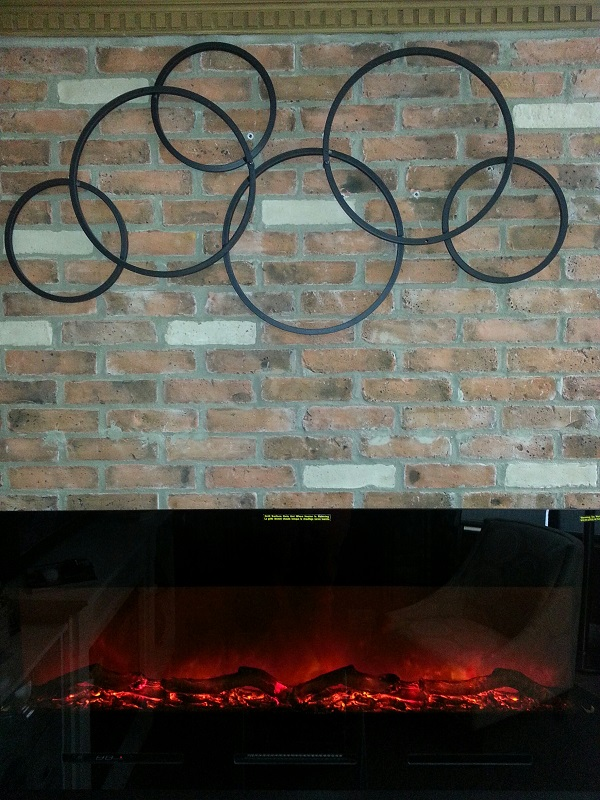 Metal Wall Decor Above Fireplace : Wall art for linear mounted fireplaces stylish