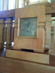 Mantel clock in the living room of the Meyer May House.