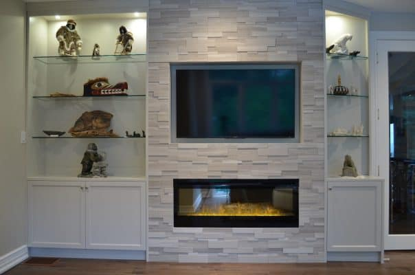 AFTER Munro fireplace wall ~ replace stone & cabinetry with new stone and custom cabinetry