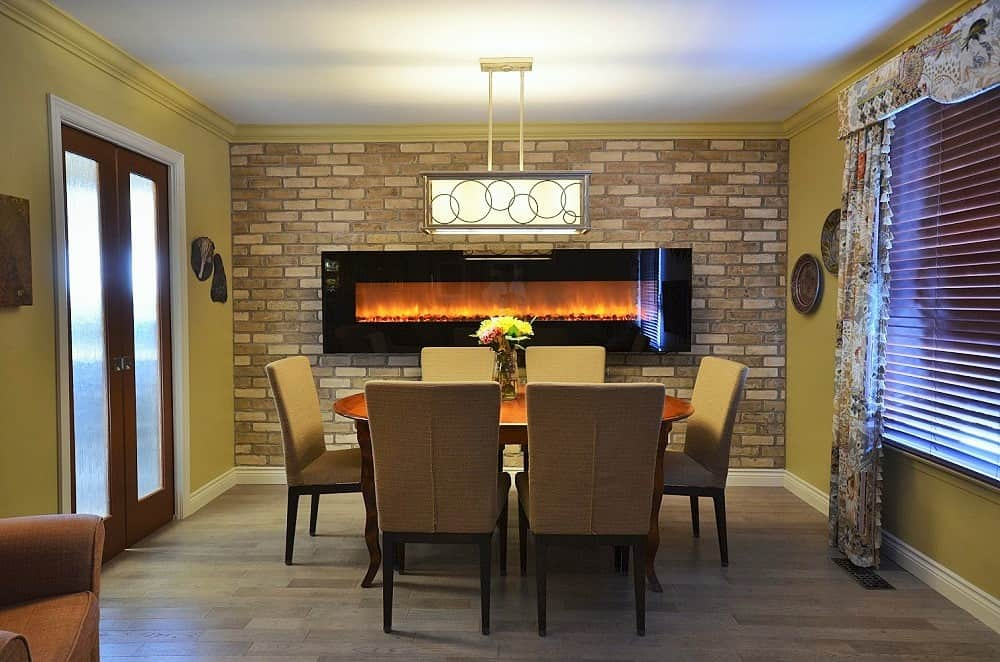 fireplace design - rustic luxe - brick wall