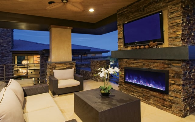 Outdoor fireplaces are an important part of any outdoor room. Electric outdoor fireplaces offer easy installation and flexible heating options.