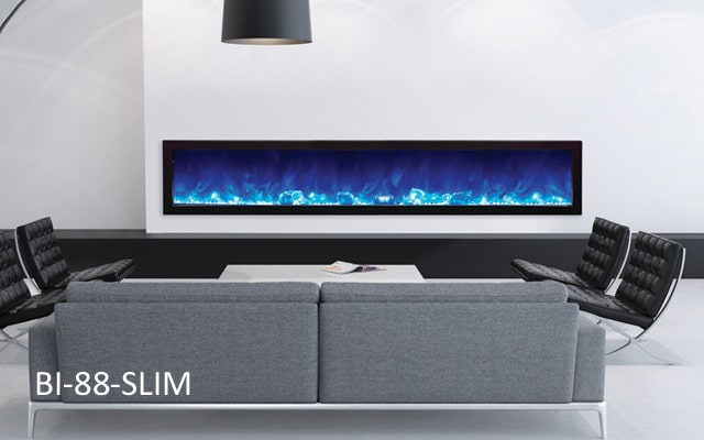 Amantii electric fireplace with blue flame and ice crystals.