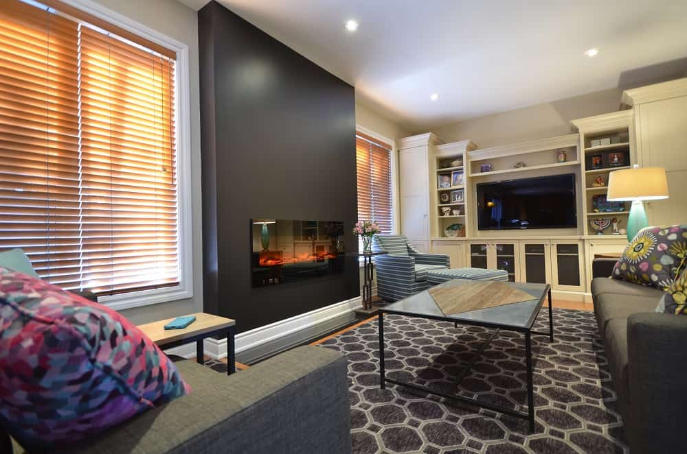 How to convert a gas fireplace with electric -- family room after
