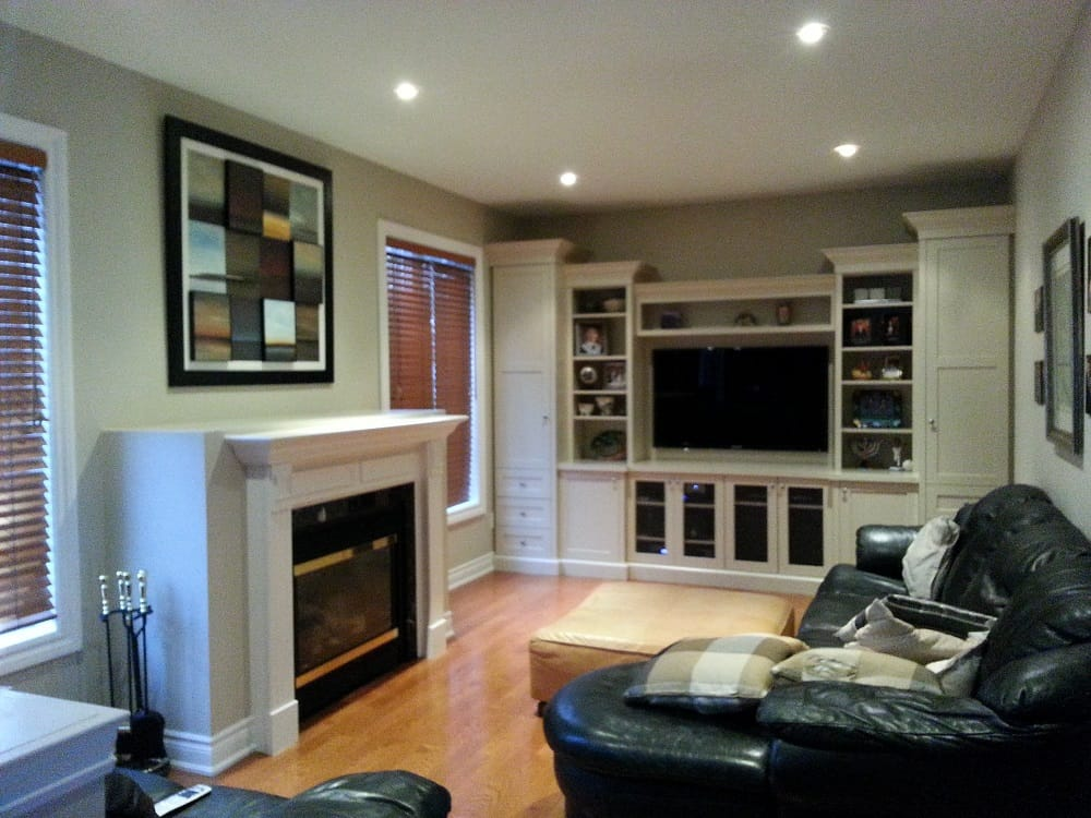 How to convert a gas fireplace to electric -- family room before