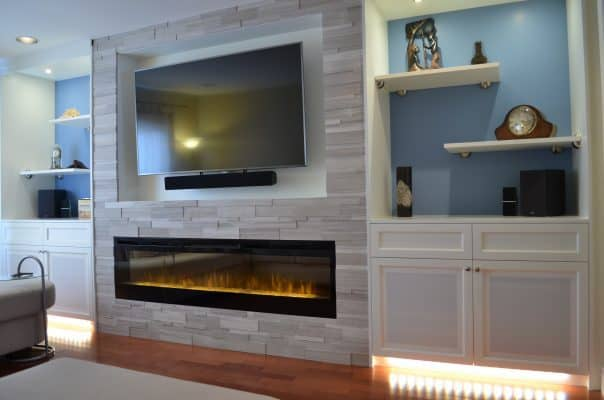 Custom Wall Unit with TV and fireplace