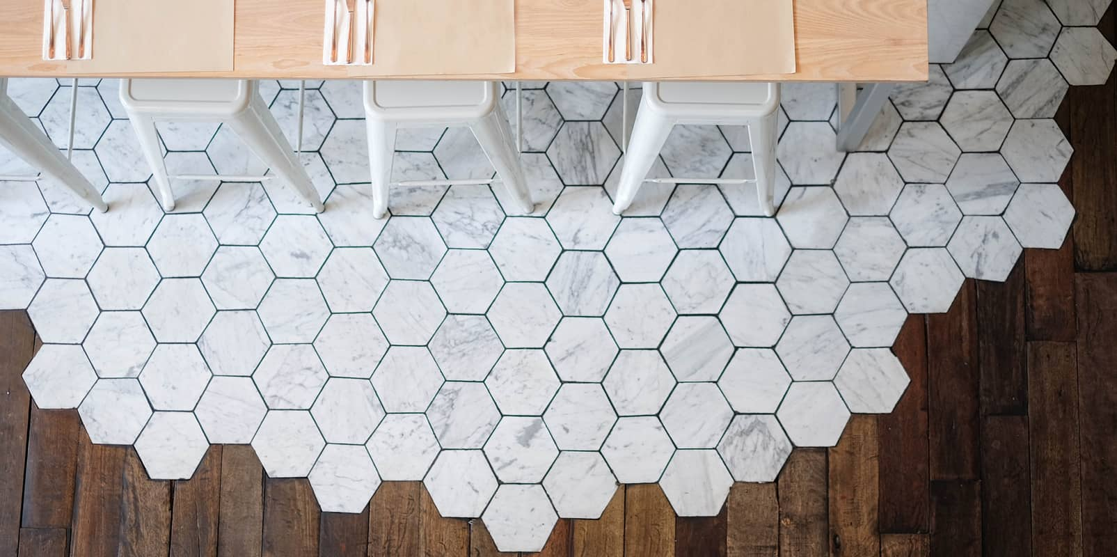 Erthcoverings White Wolf Hex Tile 16mm Stylish Fireplaces