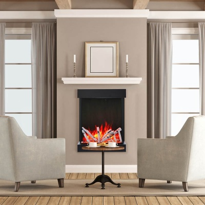 Electric fireplace in Saskatoon home