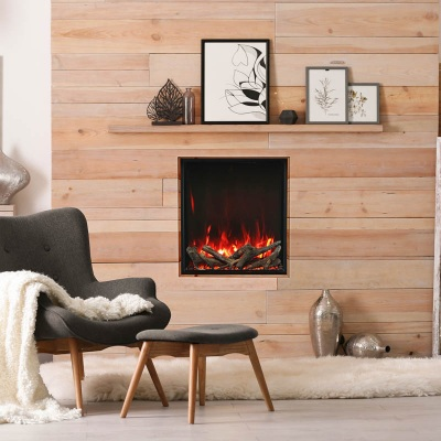 Electric fireplace in Canada home