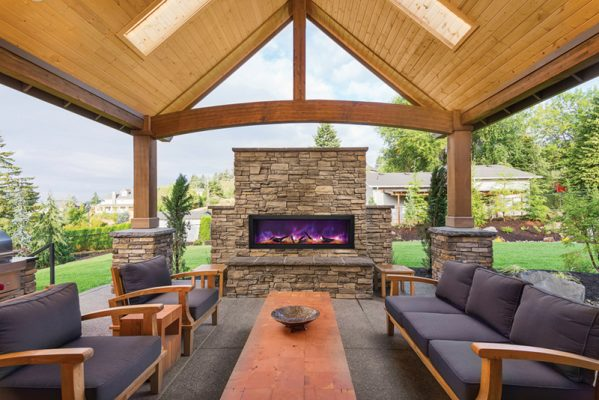 Outdoor In wall mounted electric fireplaces